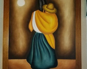 Mexican Artist Gustavo Martinez Oil Painting Moonlight