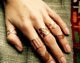 Boho anelli, anelli bohemien, anello midi, anelli hippy, anelli in rame, anelli tribali, midi set, anelli di ottone, monili di boho, midi anelli, set anello