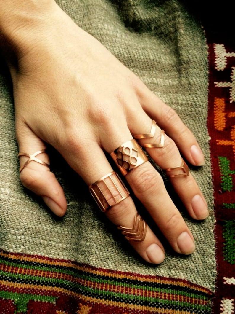 Boho rings bohemian rings midi ring hippie rings copper image 0