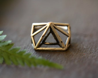 Boho ring bohemian ring geometric ring hippie rings silver tribal rings silver ring boho jewelry triangle ring 3d ring big ring large ring