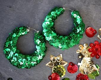 Large Hoop Earrings, big earrings, green hoop earrings, green hoops, sequin earrings, statement earrings,festival earrings ,shimmer earrings