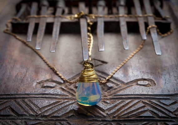 Opalite Drop Necklace, Glow, Boho, Wire, Btnetsy, Blue, White, Brass, Gold, Tear, Moon, Opal, Palomita Jewellery,Palomita Jewelry, Ethnic,76 by Etsy