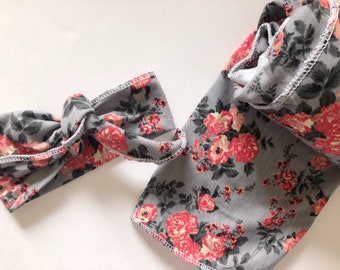 Swaddle and Headwrap set in Gray Coral Gardens