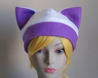 Fleece Cat Hat / WHITE + PURPLE Beanie Style Cap Cute Anime Neko Cosplay Cat Ears Kitty Ears Kawaii Japanese Fashion