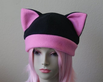 a4b65b229a4 Fleece Cat Hat   BLACK + BUBBLEGUM PINK Beanie Style Cap Cute Anime Neko  Cosplay Cat Ears Kitty Ears Kawaii Jrock Goth Punk Japanese Fashion