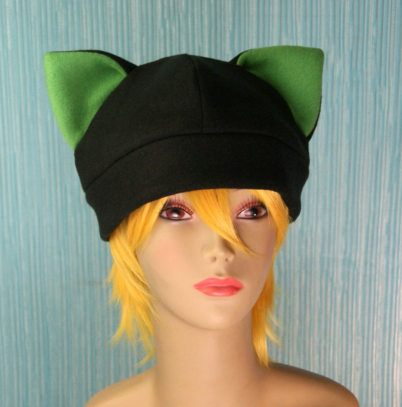 2ca5c2add93 Fleece Cat Hat   BLACK GREEN Inner Ears Beanie Style Cap