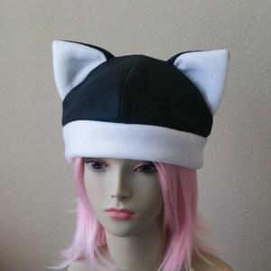Made-to-Order  Fleece Cat Hat  BLACK LIGHT GREY Beanie Style Cap Cute Anime Neko Cosplay Cat Ears Kitty Ears Kawaii