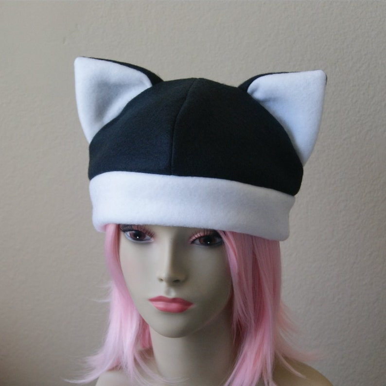e81f159b1b9 Fleece Cat Hat   BLACK WHITE Beanie Style Cap Cute Anime