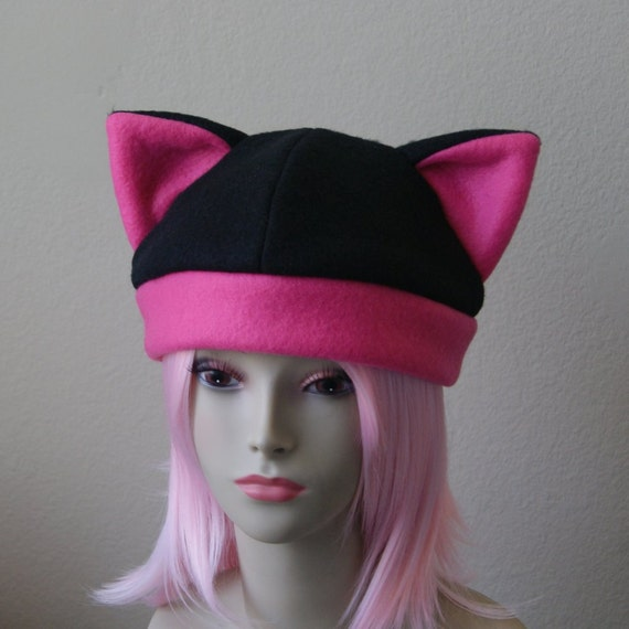 98b58fefaf3 Fleece Cat Hat   BLACK HOT PINK Beanie Style Cap Cute Anime