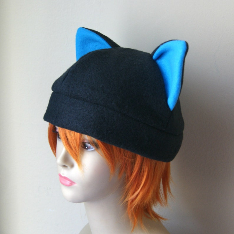 60abac4f1d7 Fleece Cat Hat   Solid BLACK with BRIGHT BLUE Inner Ears