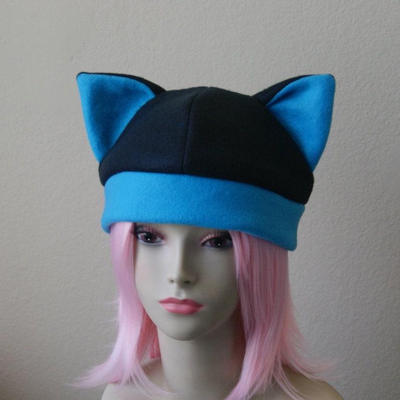 Pink Purple Blue Faux fur ears cat black and purple hat Cosplay cat hat Anime fluffy fleece hat Handmade Black Purple Pink Blue kawaii fleece cat hat