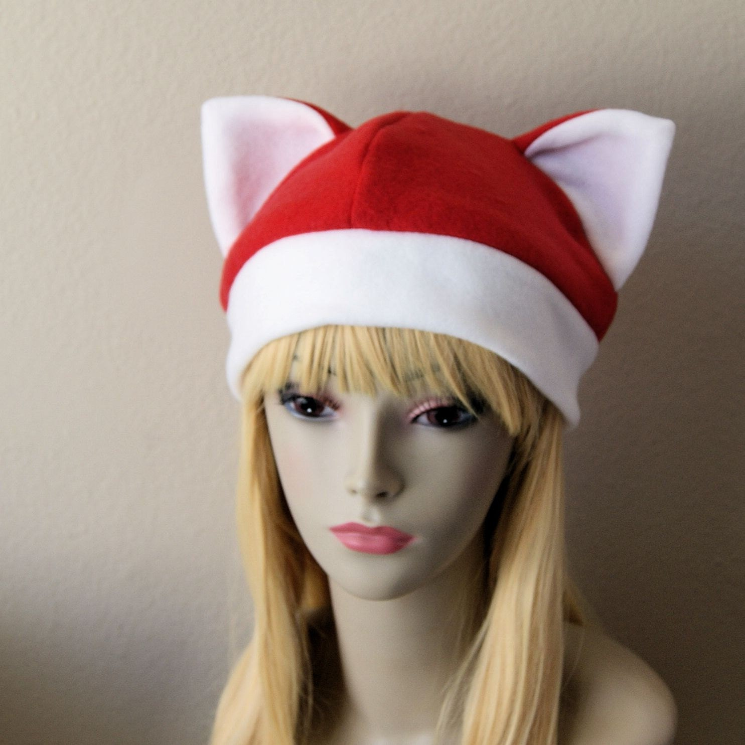 aca3b676063 Fleece Cat Hat   RED WHITE Beanie Style Cap Cute Anime Neko