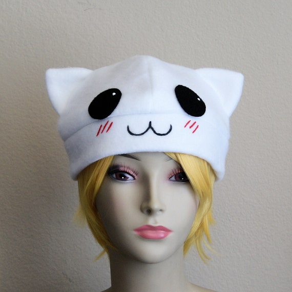 0e1363dbb99 BLUSH the Cat Fleece Beanie   WHITE Handpainted Anime Kitty