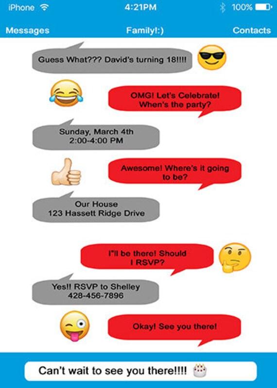 Personalized Emoji IPhone Text Chat Birthday Invitation