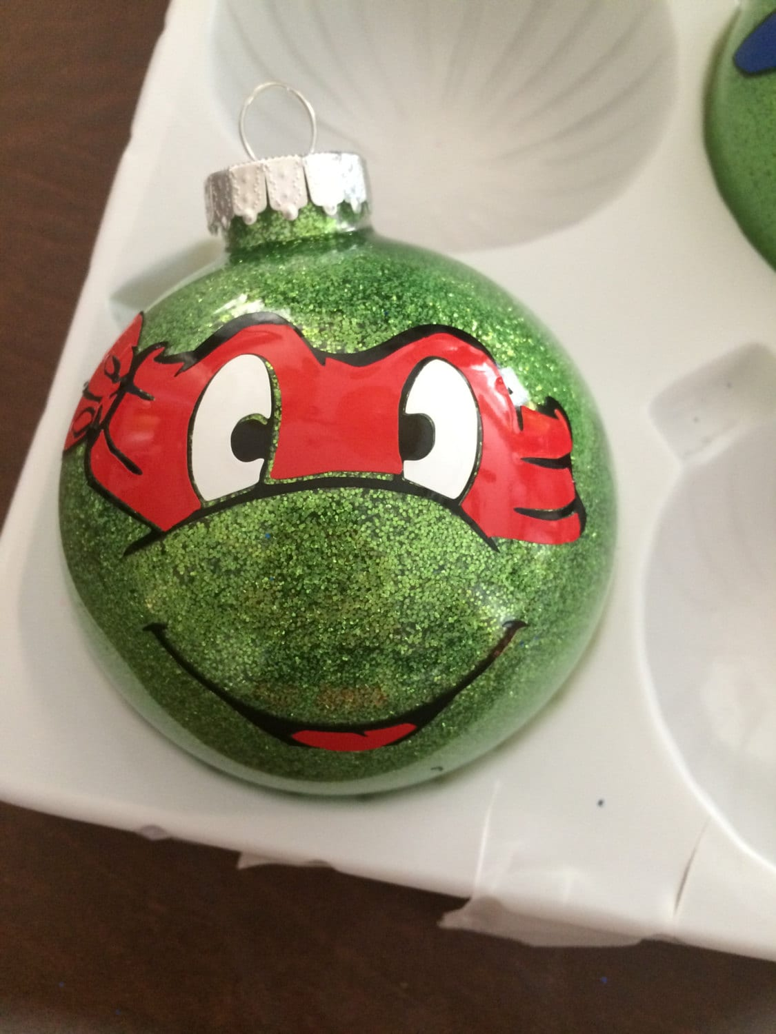 Ninja turtle glitter personalized christmas ornament. | Etsy
