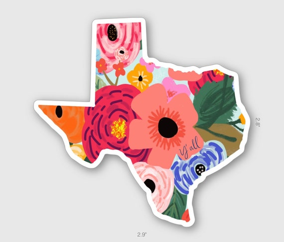 Texas Y'all Floral Decal