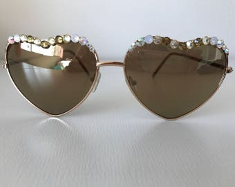 Gold heart aviators with crystals