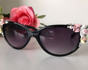 Black cateye sunglasses with roses and crystals