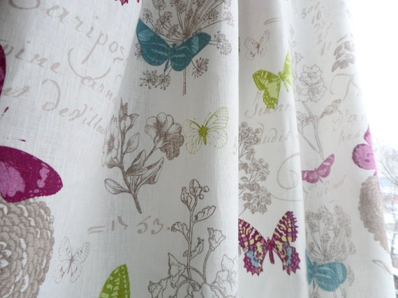 Natural linen valance. White window valance. Cafe style curtain. Butterfly  kitchen curtains. White linen kitchen curtains.