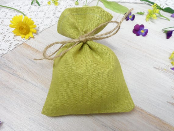 Green candy bags Jewelry bag Small green gift bags Burlap mini bags Linen favor bags 25.