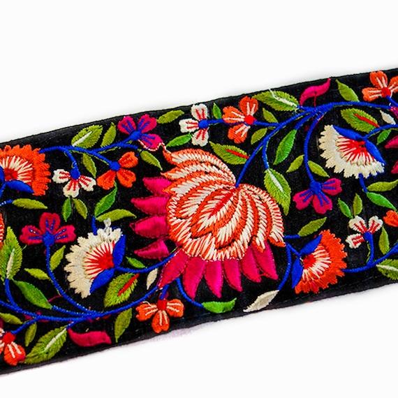 Beaded Trim - Black Cotton Trim - Silk Embroidery Trim - Soft Cotton Trim - Indian Trim - Embroidered Trim - Saree Border - Floral Silk Trim