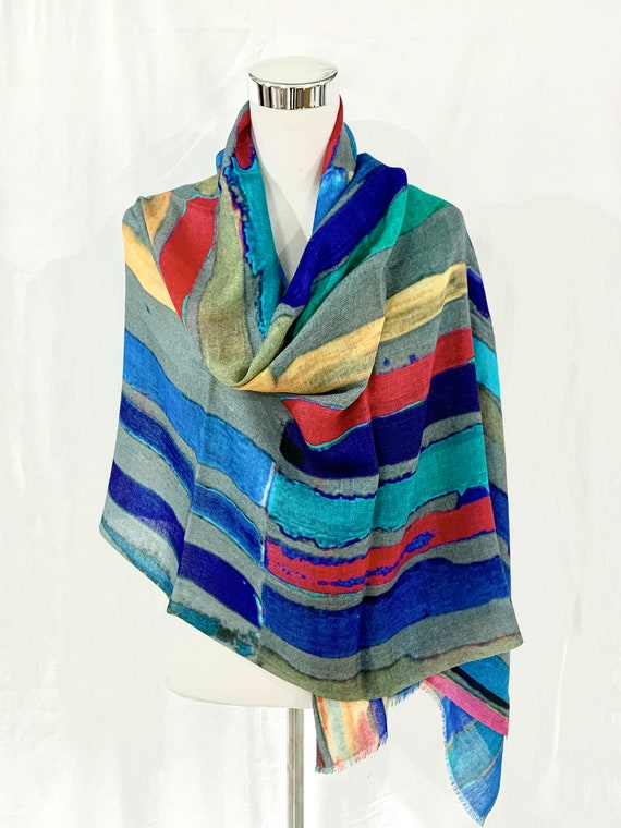 Blue silk Wool shawl, Hand painted n printed shawl, women fashion shawl,all season shawl, soft n light feel goo shawl wrap.