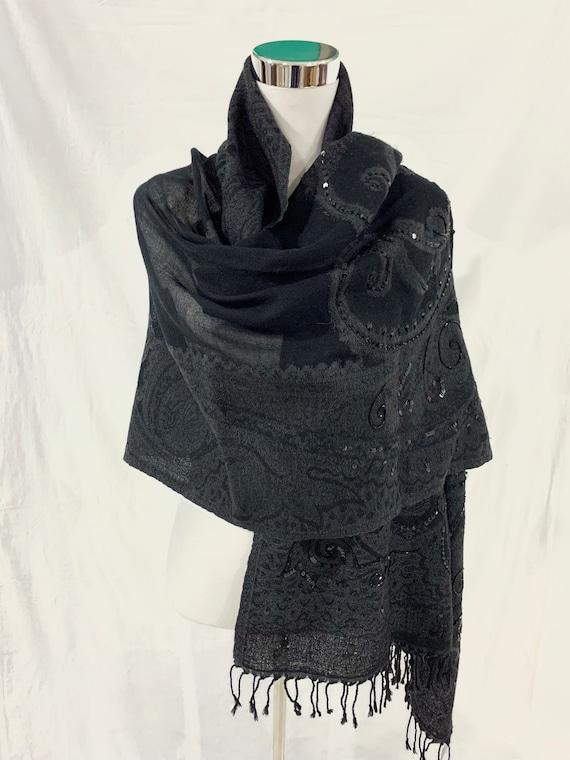 Black paisley woollen shawl, hand beaded paisley shawl, evening wear women shawl, winter jacquard shawl.
