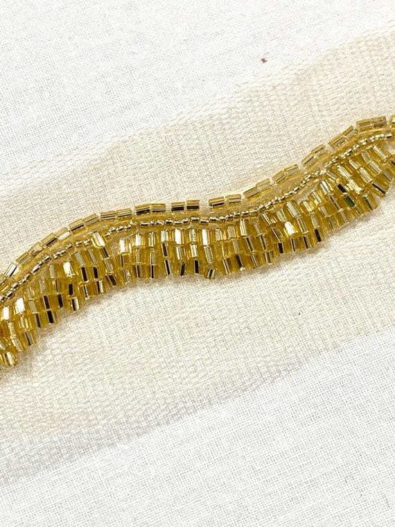 Gold beaded trim,Hand embroidered gold trim, Bridal trim, Edging trim ,veil trim, fashion trim.