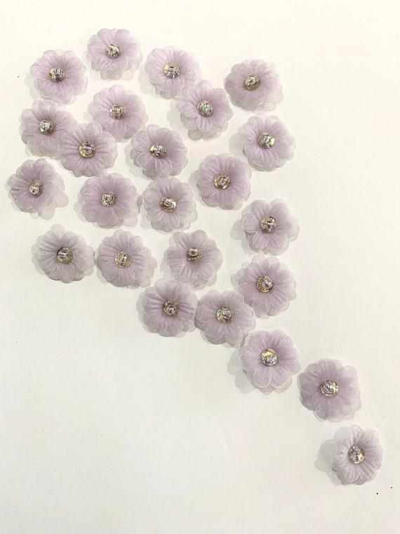 Purple organza Flowers,sheer Glittering  purple Flowers, purple layered flowers