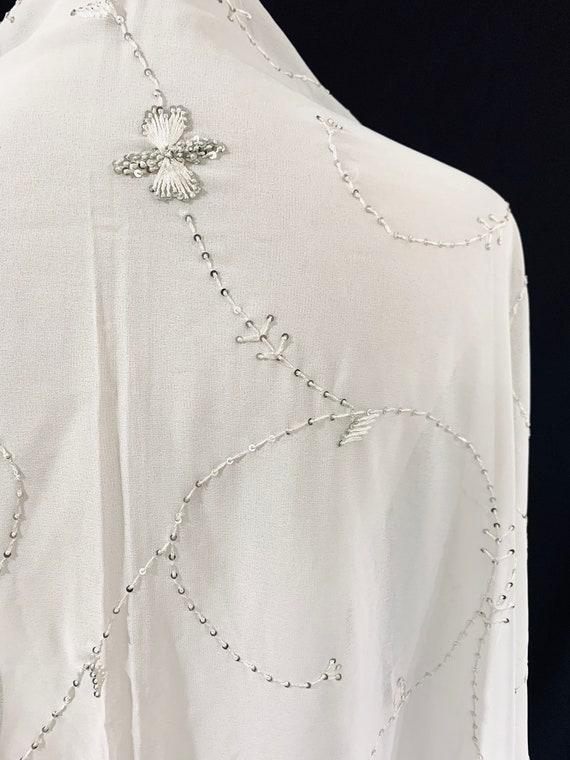 White Saree- Georgette Saree Fabric - Floral Vine Pattern - White Georgette Sari Fabric