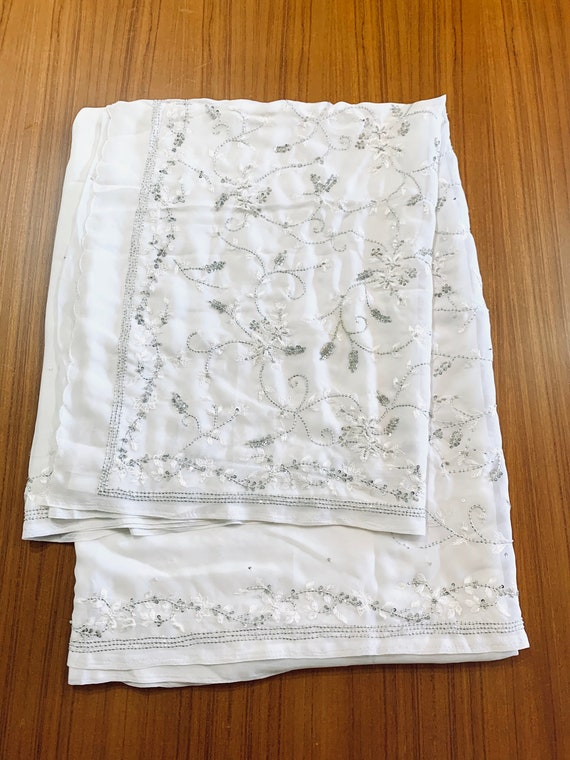 White Georgette Sari, Hand embroidered Silk Thread, Swirly Floral Silver Sequins Bead Saree, Traditional Style Indian Dress, Sewing Fabric