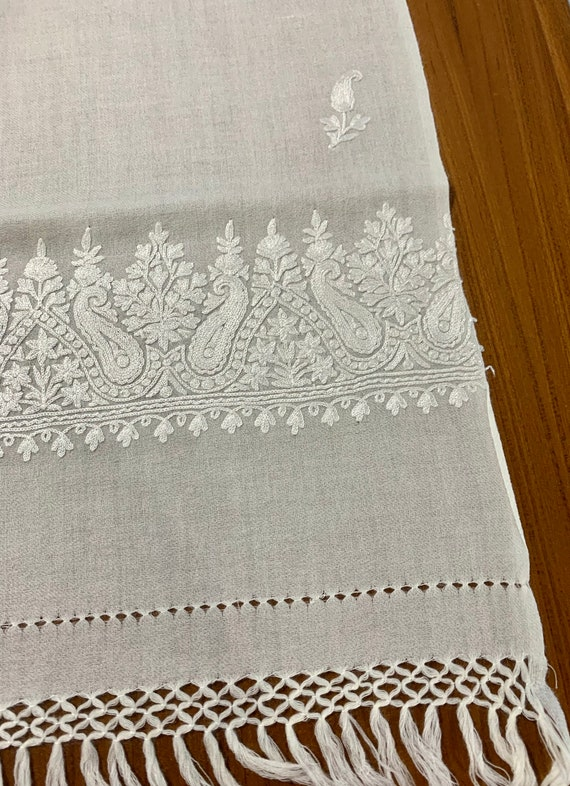 White woollen shawl,Hand Embroidered pure Wool Shawl, Bridal shawl, cream colour paisley embroidered wool shawl,