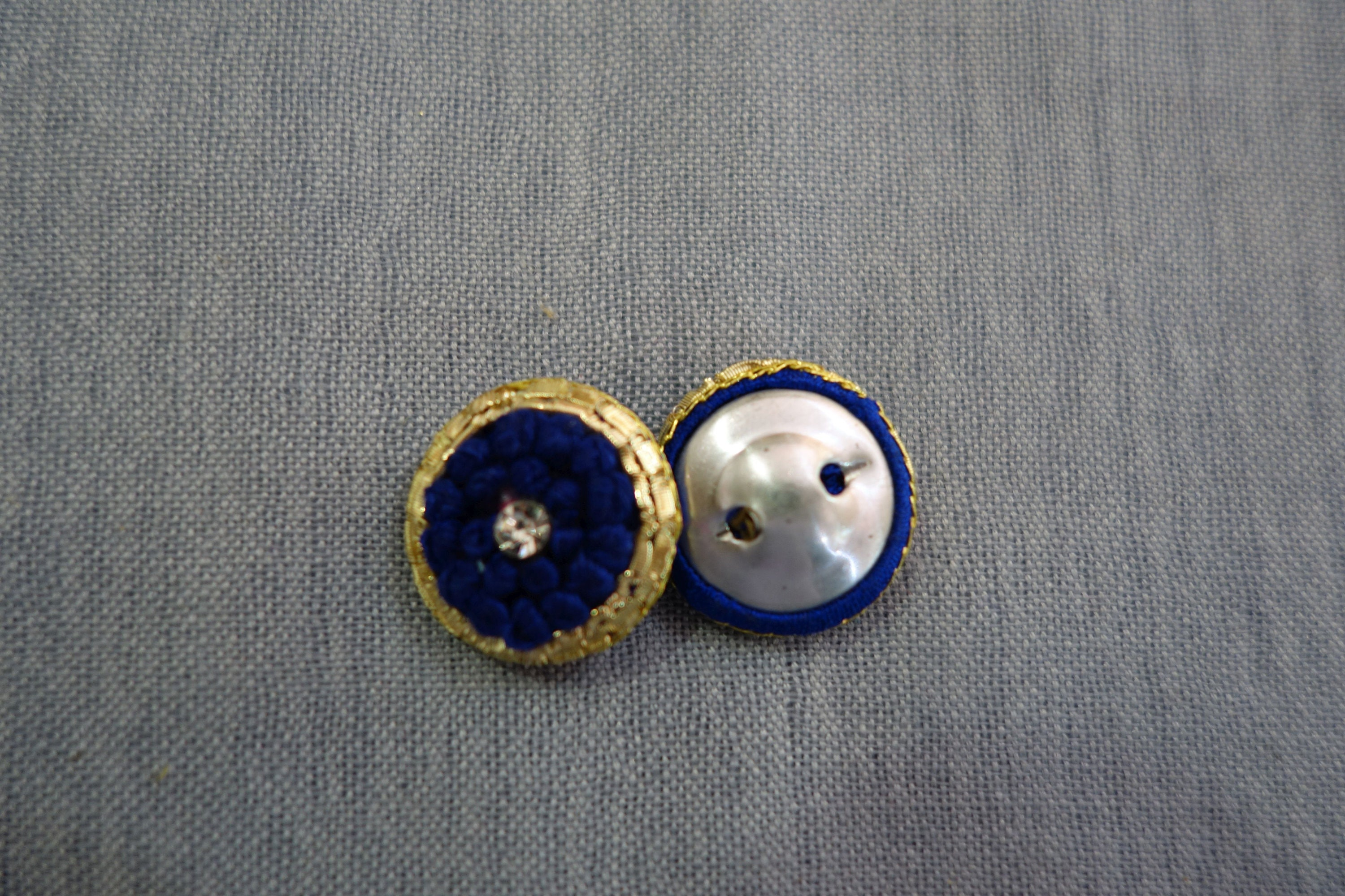 Hand Embroidered Navy blue Buttons with Central Crystal