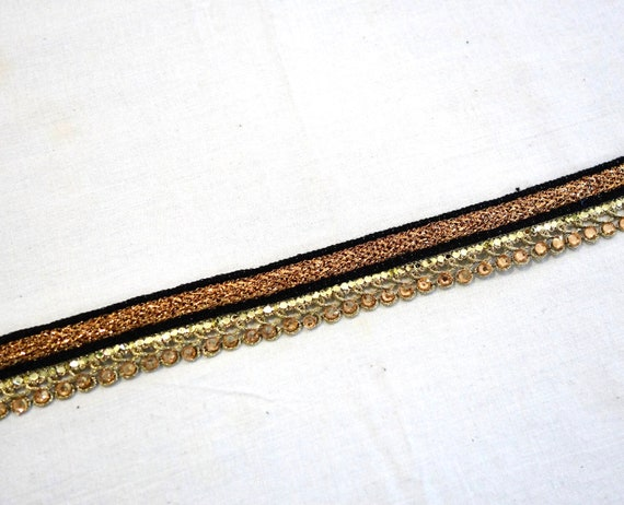 Black and Golden woven trim  with crystals