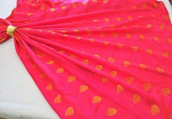 Soft Art Silk Fabric - Hot Pink Fabric - Gold Jacquard Fabrics - With Peacock Feather-like Pattern