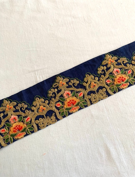 Navy Blue Embroidered Raw Silk Trim, Golden Cord Silken Thread Floral Art, Traditional Indian Saree Border, Costume Boho Sewing Trim