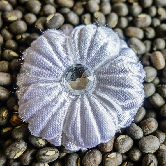 Small White Layered Fabric Flowers with Rhinestone Centers