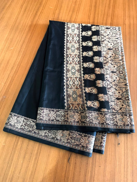 Black soft art silk Sari + Separate Blouse (1M), Gold Brown jacquard Pattern Saree, Traditional Style Indian Dress, Sewing Fabric