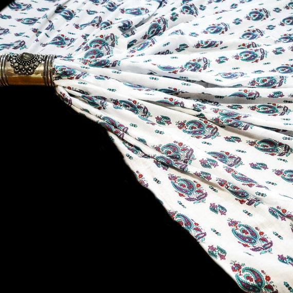 Cotton Print Fabric - Soft Cotton Fabric - Blue Fabric - Floral Print Fabric - Bridal Dress Fabric - Girls Summer Dress