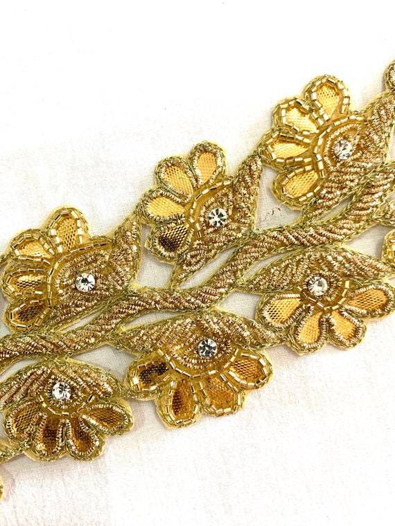 Gold Hand Embroidered Cotton base Trim, Zardosi Thread Floral Cut Work, Traditional Indian Saree Border, Belly Dance Costume, Sewing Trim
