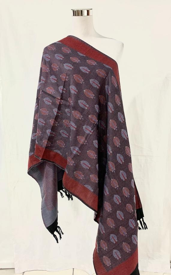 Grey silk wool shawl, hand woven shawl, all season shawl, Jacquard shawl, formal n casual shawl.