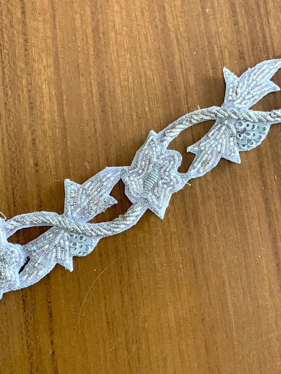 Silver Hand Beaded Cotton Trim, Zardosi Thread Tube Bead Sequins Cut Work, Traditional Indian Saree Border, Wedding Dress Border Sewing Trim