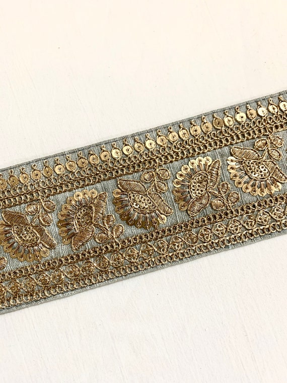 Soft Grey Raw Silk Trim, Gold Embroidered trim Sequins Golden Thread Traditional Indian Sari Border, Belly Dance Costume Boho Sewing Trim