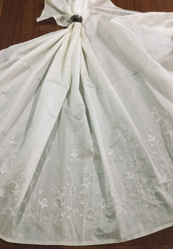 Ivory White Silk Dupioni Fabric with Embroidered White Climbing Floral Edge - White Fabric