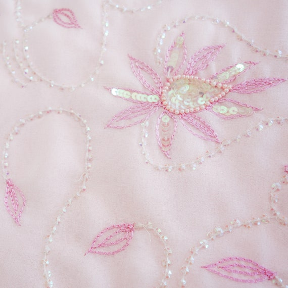 Pink Embroidered Georgette Sari, soft pink Hand embroidered Saree, Traditional Style Indian Dress, Sewing Fabric