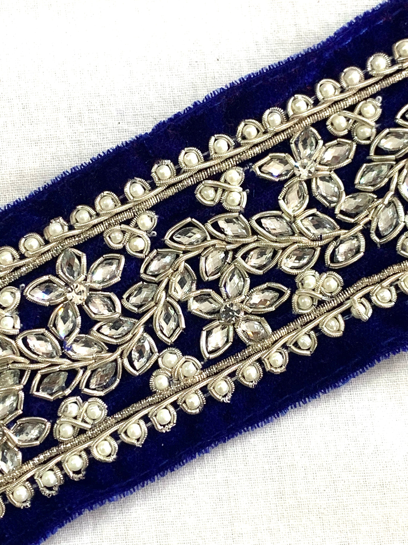 Blue Hand Embroidered Velvet Trim Rhinestone Pearl Zardosi Thread Cut Work Traditional Indian Saree Edge Belly Dance Costume Sewing Trim