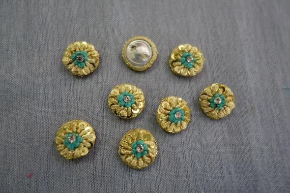 Golden Metallic Buttons with Aqua Silken Thread, Sequins & Crystals - Aqua Button