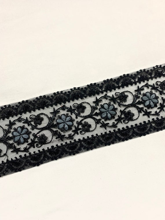 Black embroidered trim,Black floral trim, Black tulle trim, balck formal trim