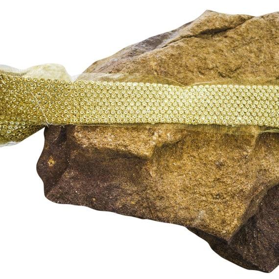 Golden Trim - Sequins Trim - Golden Sequins Trim - Stunning Gold Trim - Luxury Embellished Trim - Party Dress Trim