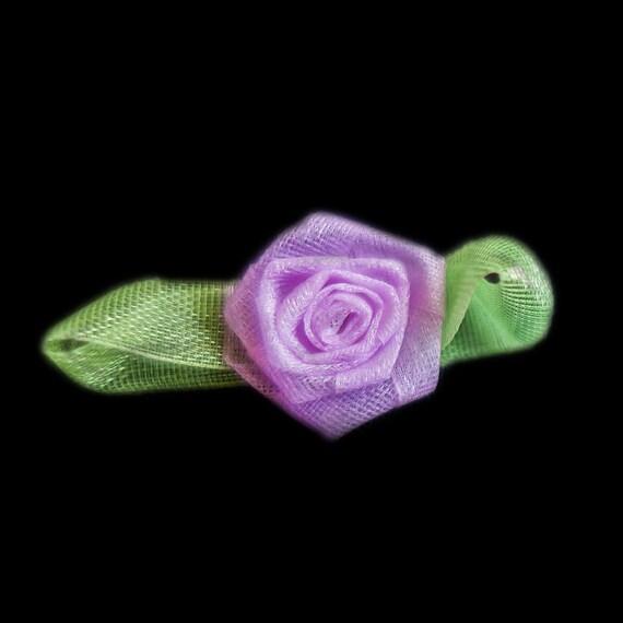 Miniature Sheer Lavender Purple Coiled Ribbon Rose Buds